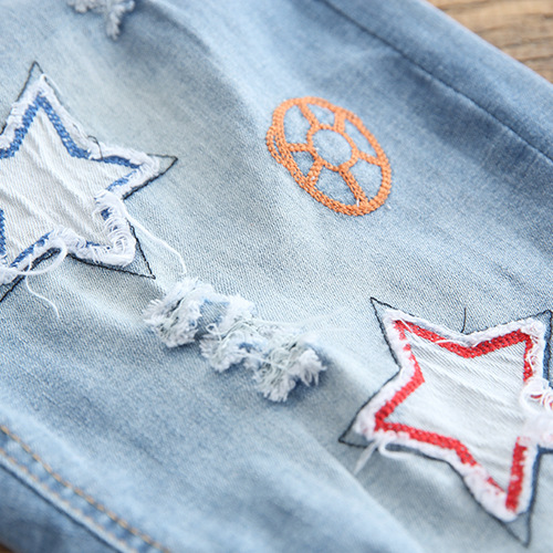 18 Years Summer New Style Playful Cool Applique Embroidered Elastic Waist Frayed Cowboy Harem Capri Pants Women's