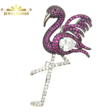 Stunning Elegant Micro Pave Red CZ Flamingo Brooches Silver Tone Clear Pear Shaped Winged Deco Flamingo Bird Pin Lover Jewelry