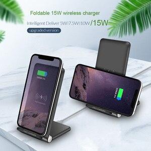Image 2 - 15W szybka bezprzewodowa podkładka ładująca składany 10W Qi ładowania stojak na iPhonea 11 Pro Max XS XR X 8 Samsung S10 S9 s8 Plus uwaga 10 9
