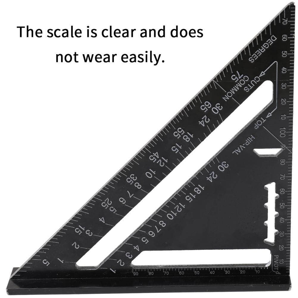 Aluminum Alloy Triangle Ruler 90/45 Degree Set Square 7in Metric Woodwork Tool