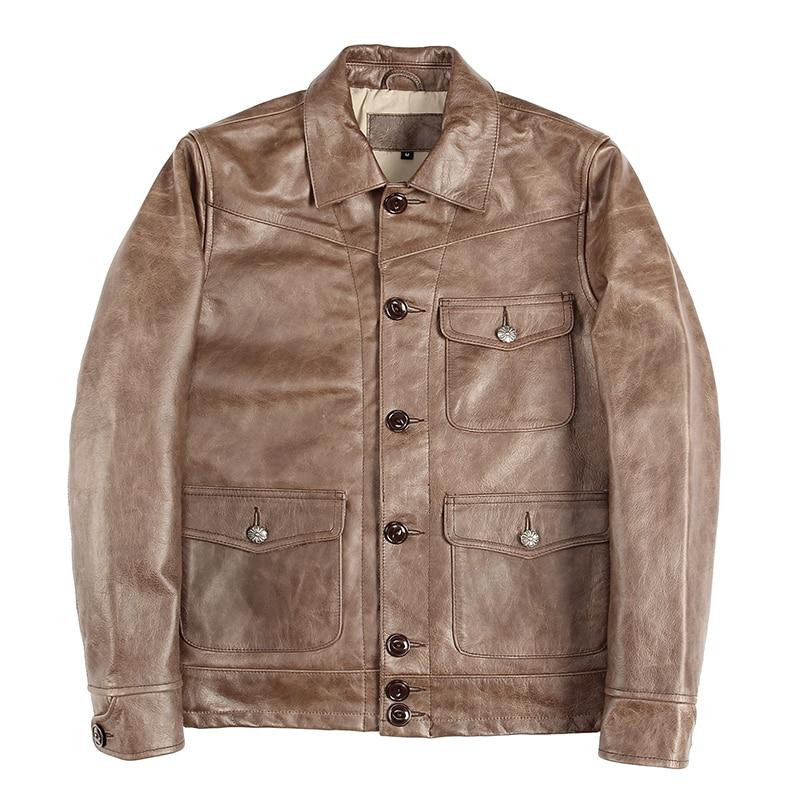 Jacket Brown Cowhide Genuine Casual Slim Autumn Short Dark Coat Japan-Style Plus-Size