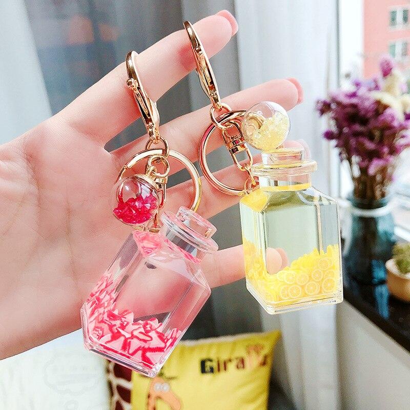 Creative Popsicle Glitter Key Chain Quicksand Keychain Liquid Floating Fruit Keyring Backpack Pendant Gift For Women