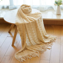 Nordic Fringed Gold Silk Knit Blanket Bedside Sofa Blanket Lattice Mosaic Blanket Decorative Blanket Winter Nap Home Textiles