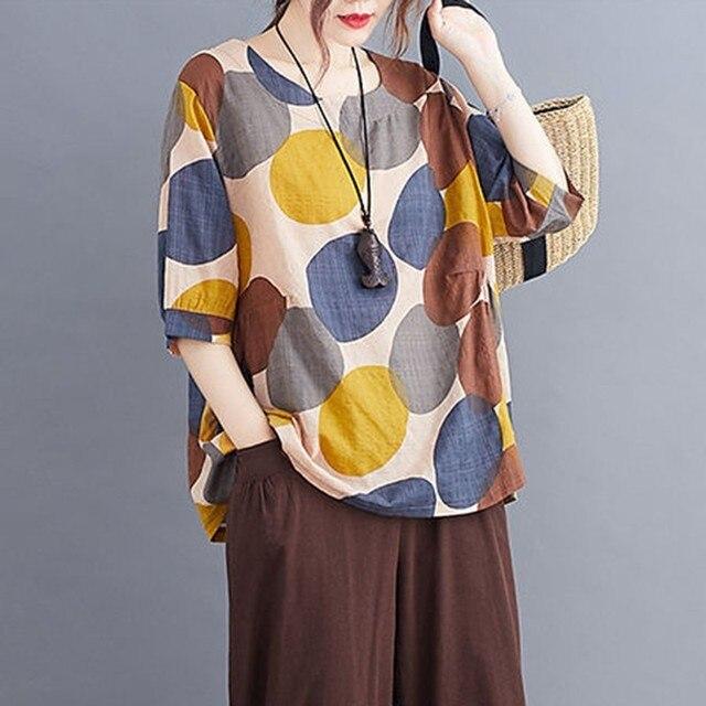 100% Cotton Oversized Shirt Women Summer Loose Casual Tops New 2020 Korean Style Polka Dot Print Woman Blouses Shirts P1027 2