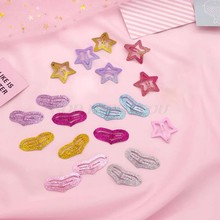 Child Kids Soft Metal Alloy Mini Hair Clips Cute Love Heart Star Shape Hollow Out BB Hairpins Glitter Powder Sweet Candy Color(China)