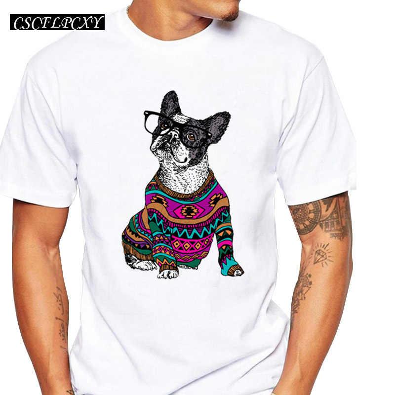 アジアサイズのヒップスター Frenchie 犬デザインメンズ tシャツ半袖トップスファッション着て犬レトロおかしいプリント tシャツ