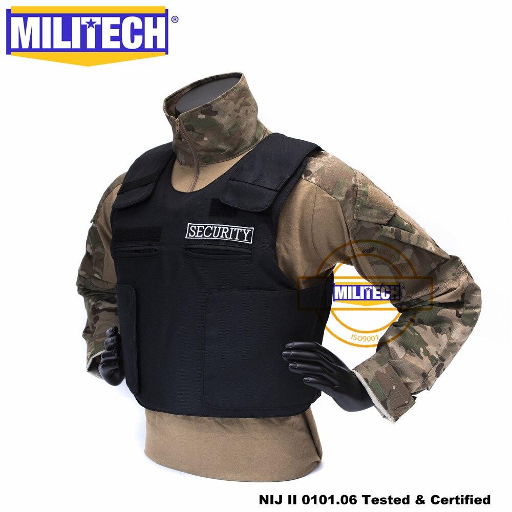 Militech Black NIJ II Lvl 2 Security Vest Twaron Aramid Bulletproof Overt Ballistic Bullet Proof Vest Body Armor Vest