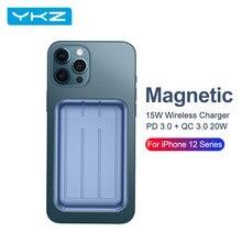 YKZ Magnetische Drahtlose Ladegerät Power Bank Für iPhone12 Pro Max Mini 15W PD QC 3,0 Magnet Schnelle Aufladen Power externe Batterie
