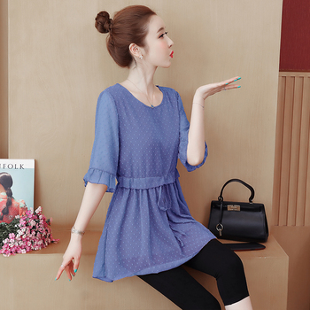 COIGARSAM 5XL Plus Size Chiffon blouse women New Summer Half Sleeve Loose High Waist blusas womens tops and blouses Brown Blue