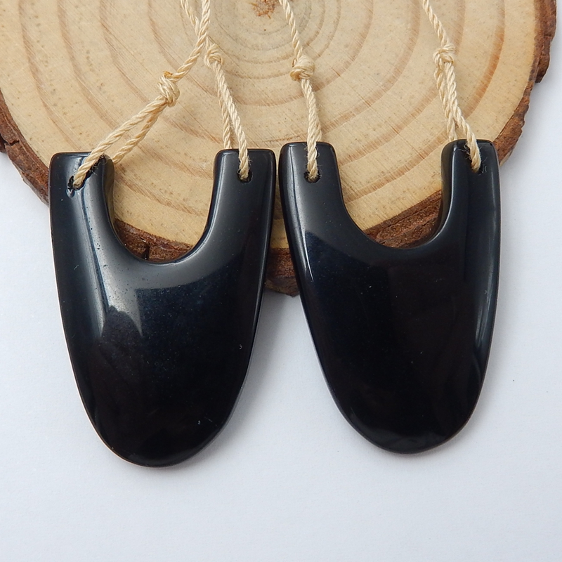 New Deisgn Natural Stone Obsidian Black Handmade Earrings For Women Best Mother'Day Gifts Accessories 33x24x4mm 8.3g