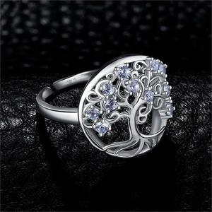 Image 2 - JewelryPalace Tree Of Life Created Blue Spinel Ring 925 Sterling Silver Rings for Women Party Cocktail Ring Silver 925 Jewelry