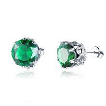 Szjinao Real 925 Sterling Silver Stud Earrings Designer Emerald Fine Jewelry Handmade Gothic Flower Earrings For Women Brincos