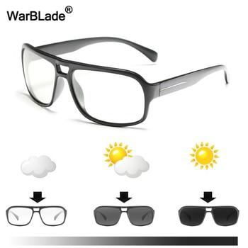 WarBLade Men Photochromic Sunglasses Polarized Sun Glasses HD Driving Goggles Chameleon Glasses UV400 Day Night Driving Eyewear