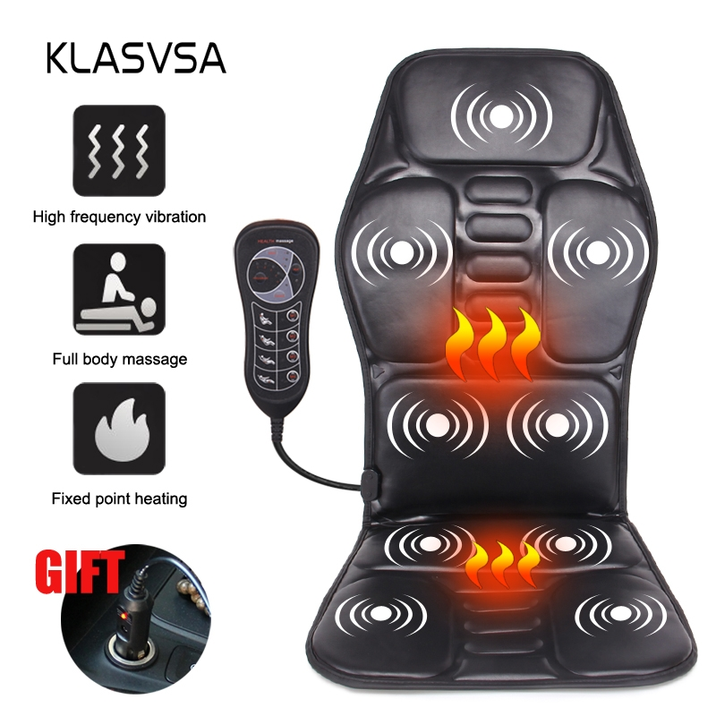 KLASVSA Chair Vibrating Back-Massager Lumbar Pain-Relief Office Cussion Electric Portable