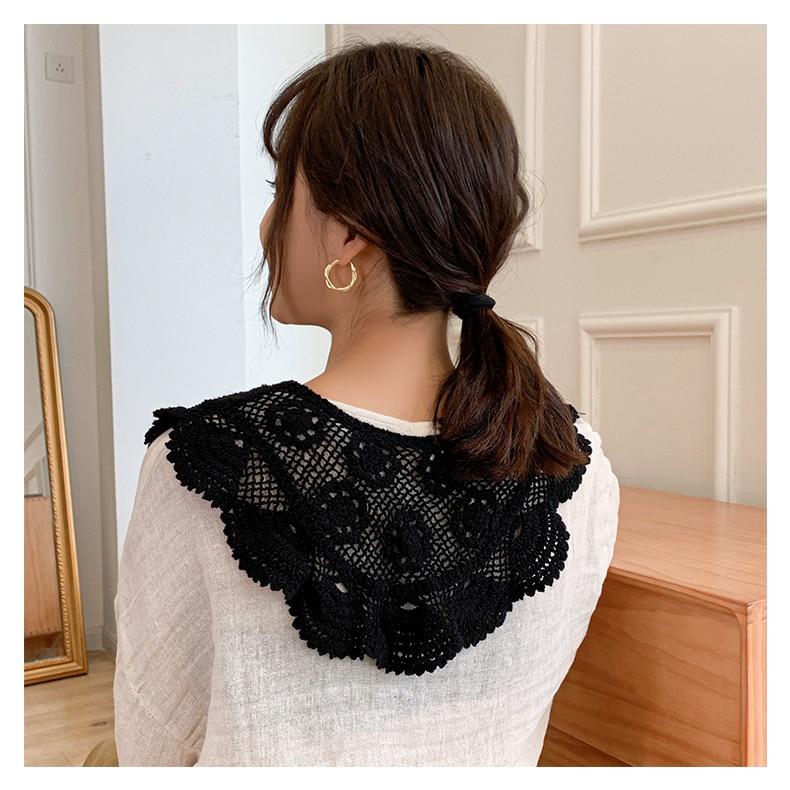 Hand Crochet Cotton fake Collar Hollow Tulle Lace Fabric Shawl Female Collar