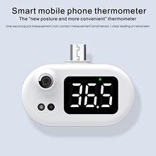 Mini termômetro usb termômetro digital do telefone móvel com display led sem contato sensor de temperatura infravermelho tipo-c higrômetro
