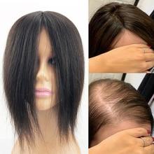 Perruque de cheveux naturels Remy 5x5 pouces, partie libre au milieu pour cheveux fins et chauves