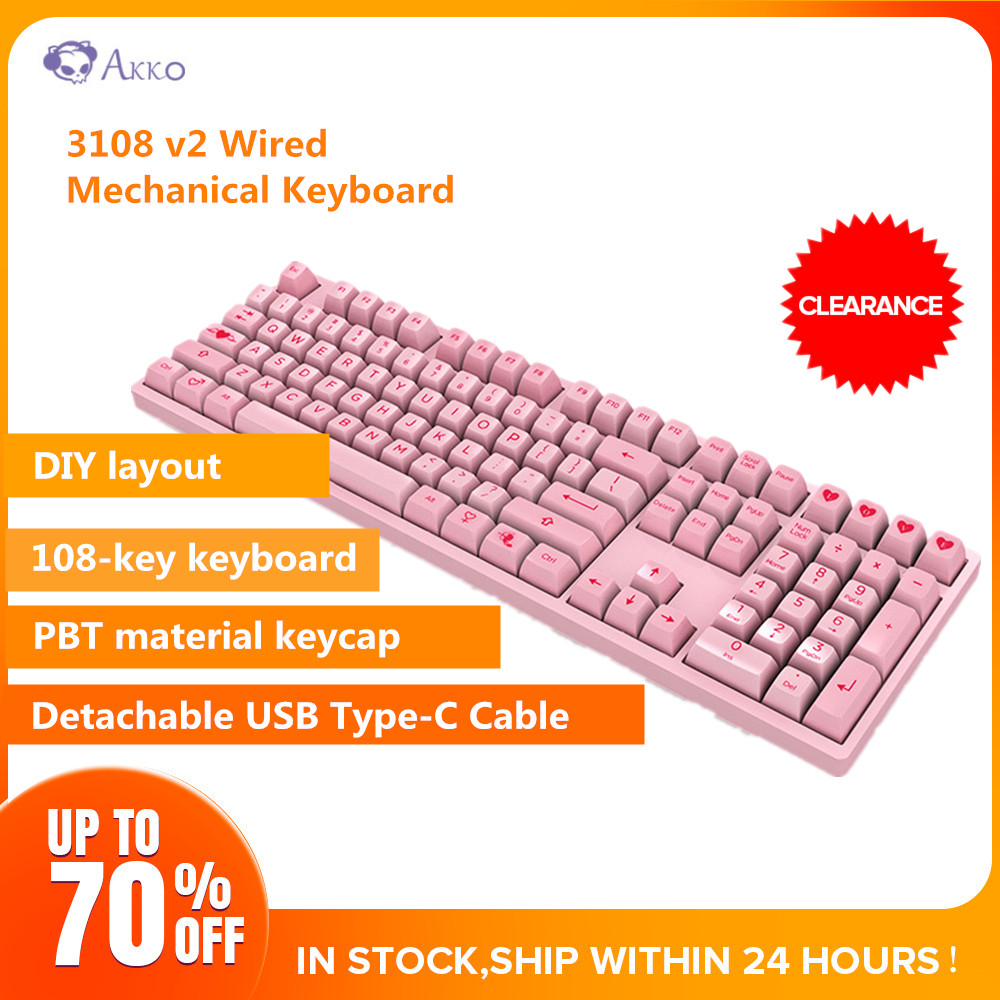 Akko <font><b>3108</b></font> <font><b>V2</b></font> Wired Mechanical Keyboard 108 Keys With 9 Additional Keycaps USB Type-C Gaming Keyboards image