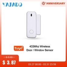 YAJADO 433MHz Wireless Door Window Sensor Tuya Smart Door Magnet Window Detector Sensor Alarm for Home Security Alarm System