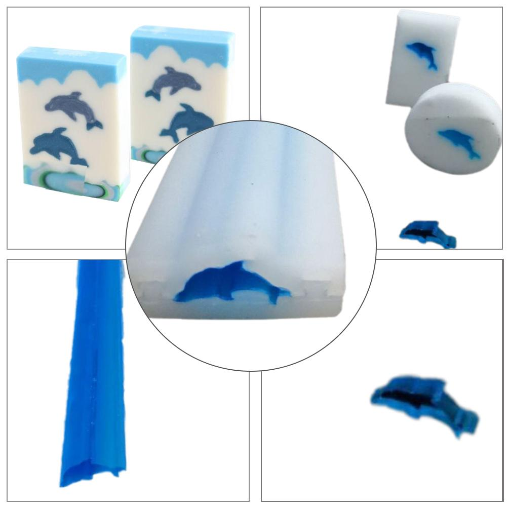 Dolphin Shape Hand Soap Tube Model Silicone Mold Long-Cylinder Cold Process Soap Dye for Soap Candle Home DIY Craft