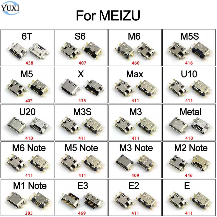 YuXi 2pcs Micro USB Jack For Meizu 6T S6 M1 M2 M3 M3S M5 M5S M6 Note U10 U20 E E2 E3 Max X Charging Port Connector Socket Plug