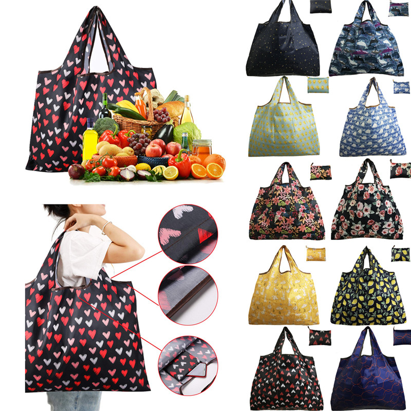 Waterproof Folding Shoulder Handbag Shopper Reuse Tote Beach Shopping Travel Bag Bag Oxford Tote Handbag Folding Reusable
