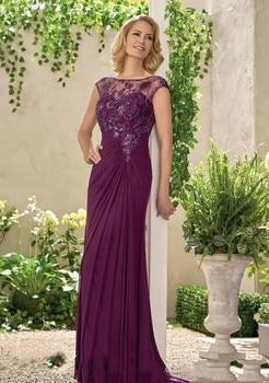 Elegant Plum Column Mother Of The Bride Dress Lace Applique Formal Godmother Wedding Guest Party Gown Plus Size vestido de madri