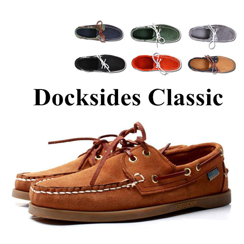 Chaussure Nautique Homme Docksides De Men Genuine Leather Boat Shoes,Plus Big Size Navy Black Brown Brand Flats Loafers 2019A045