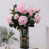 3 testa Idratante Rosa Handfeel Rosa Ornamentali Riprese con I Fiori Forniture di Nozze Fiore Decorativo Imitazione Fiori