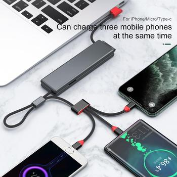 OATSBASF micro usb type c cable xiaomi iphone xr charger 3 IN 1 magnetic redmi k30 pro lightning cable iphone 7 fast charging