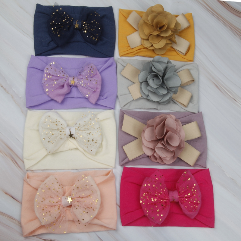 Korean Baby Girls Width Nylon Headband Newborn Fabric Flowers For Hairbands DIY Photographed Photos Children Hair Accessories