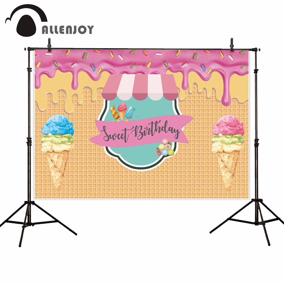 Allenjoy Ice Cream Party Wallpapers Slime Macaroon Donuts Waffles Dessert Event Photocall Decor Sweet Birthday Girl Backdrops