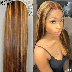 """KGBL 13*6 Ombre Highlight Straight Lace Front Human Hair Wig With Baby Hair 8""""-24""""Brazilian Non-Remy130%150%Density Hair wigs(China)"""
