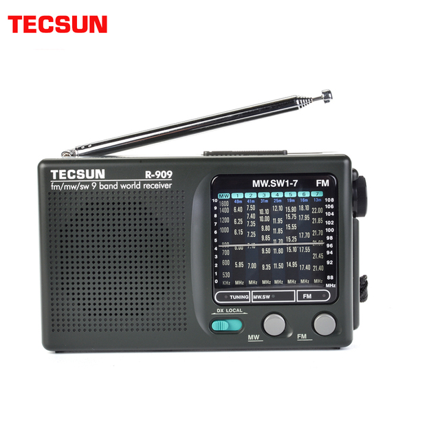 TECSUN R 909 Fm/Mw/Sw 9เครื่องรับสัญญาณวิทยุแบบพกพาวิทยุFmเสาอากาศวิทยุ