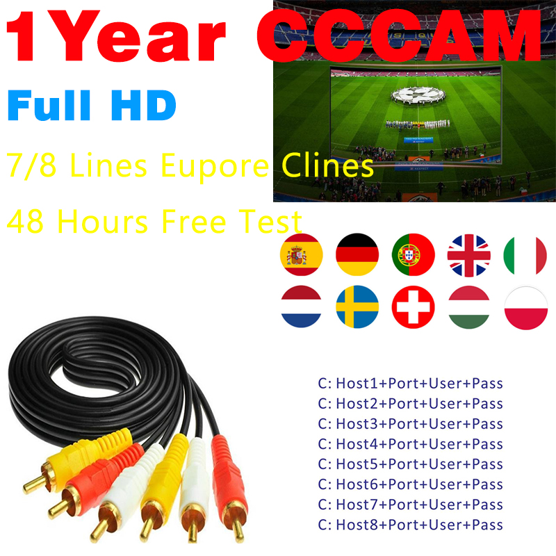 7 Lines 1 Year Europe Cccam Cline Stable Cccams for Europe Spain UK Germany French Italy Poland Satellite tv Receiver DVB-S2 image