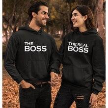 O chefe o chefe real hoodies casual unisex casais combinando camisolas com capuz engraçado feminino namorados pullovers streetwear