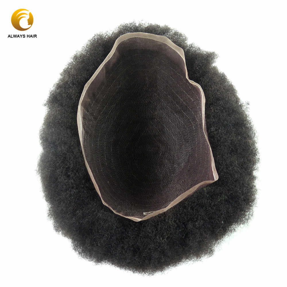 6mm Afro Curl Indian Human Hair Toupee for Black Man 6 inch 120 Density Afro Natural Wig with Fine Welded Mono Base