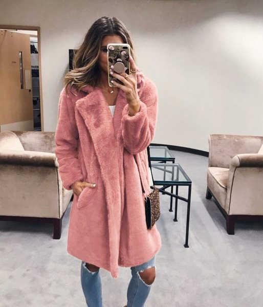 Winter Frauen Faux Pelzmantel Luxus Lange Pelzmantel Lose Revers Mantel Jacke Dicke Warme Plus Größe Weibliche Plüsch Fell