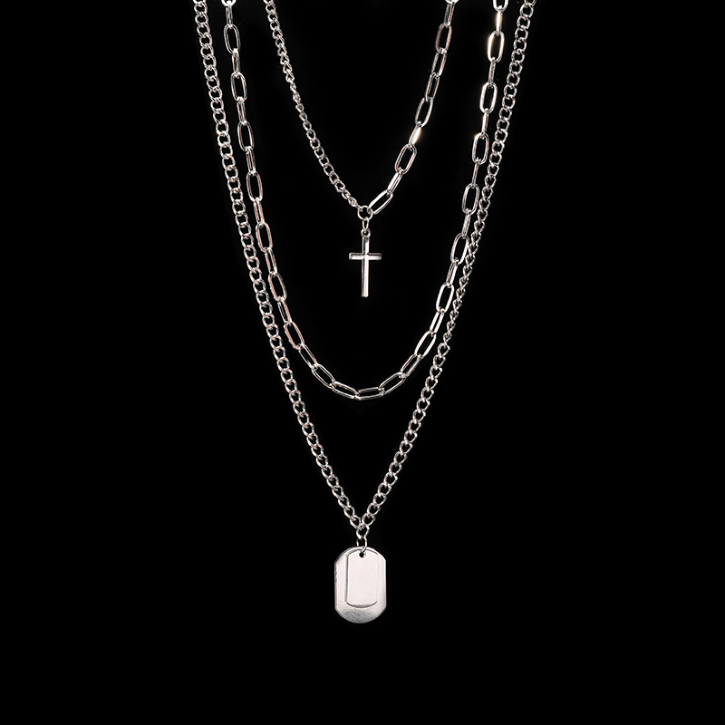 H874a7229c17547729f76a8297790bb71U - Zoeber Multi-Layer Long Chain Necklace Punk Cross Pendant Necklace for Women Men Metal Silver Chains Hip Hop Goth Jewelry Gifts