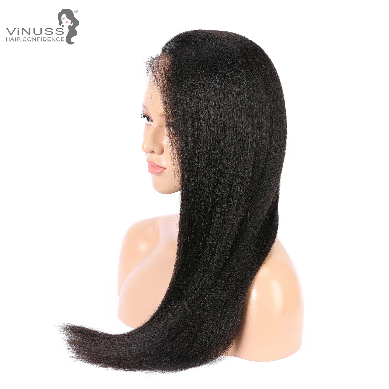 Faux cuir chevelu Yaki droite dentelle avant perruques de cheveux humains 13x6 sans colle 360 frontale dentelle perruque pré plumé brésilien Remy pour les femmes - 4