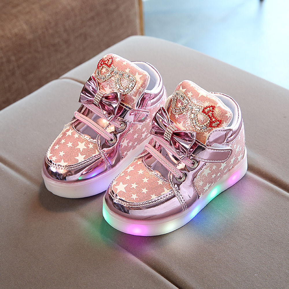 pit4tk Baby Fashion Sneakers LED Luminous Child Toddler Casual Colorful Light Shoes