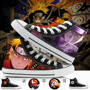 WHOHOLL Brand Naruto Anime Cartoon Hand Painted Canvas Shoes High Top Casual Sneaker Minion Shoes Adults Minions Sneakers 35-44 цена 2017