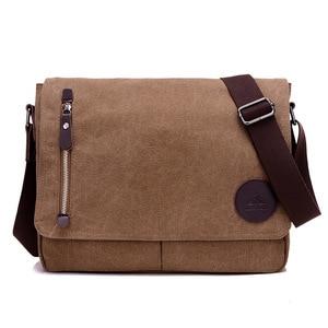 Image 2 - Винтажный холщовый портфель, мужская деловая офисная сумка через плечо, повседневная Наплечная Сумка конверт, Мужская Наплечная Сумка в стиле ретро, 2019