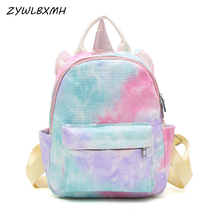 ZYWLBXMH Unicorn School Bag Candy Color Sequins Backpacks Children's SchoolBag Student Bag Girl School Backpack mochila escolar kisumater matt color backpacks women bag geometry sequins folding luminous baobao backpack student s school bag free shipping