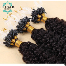 Micro Loop Ring Hair Extensions 1g/strand 100g Micro Bead Link Human Hair Extensions Curly Hair 8''-24'' Brazilian Remy Hair