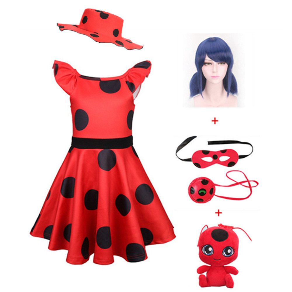 Fantasia Spandex Ladybug Costumes Kids Dress Cosplay Christmas Party Bag Girls Children Lady Bug Zentai Suit Halloween The New