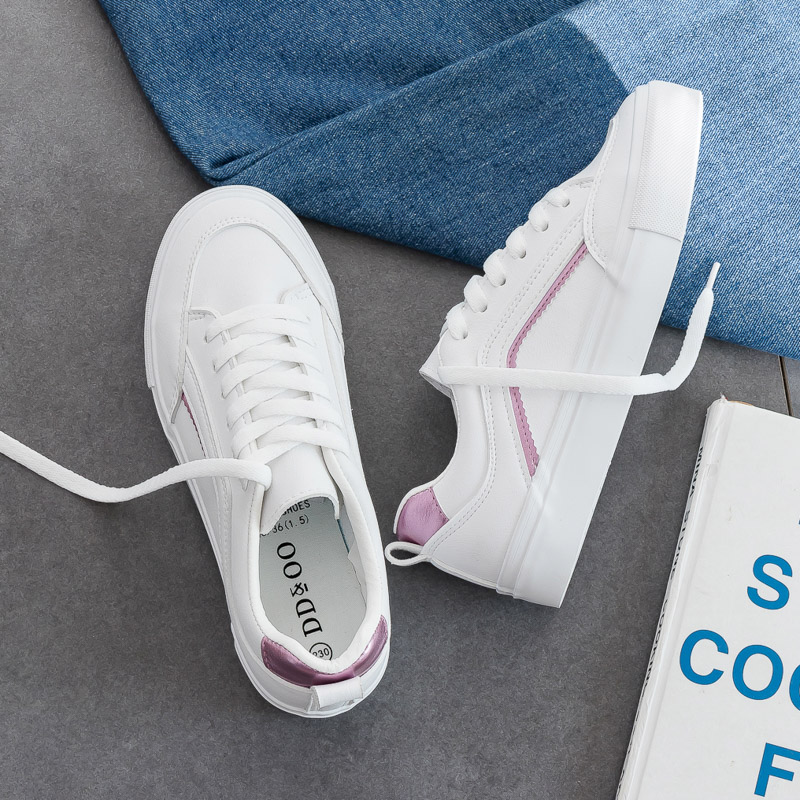 Spring White Shoes Women's Shoes 2020 Hot Selling Autumn Girl Sneakers Flat Heel Leather Low Lace Up Stylish All Match 35-40