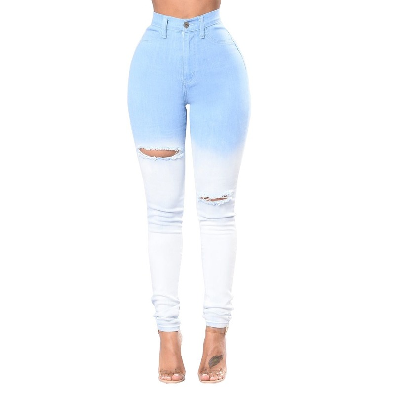 Sexy Skinny Jeans For Women Autumn High Waist Jeans Women's 2019 Blue And White Gradient Hole Denim Pencil Pants