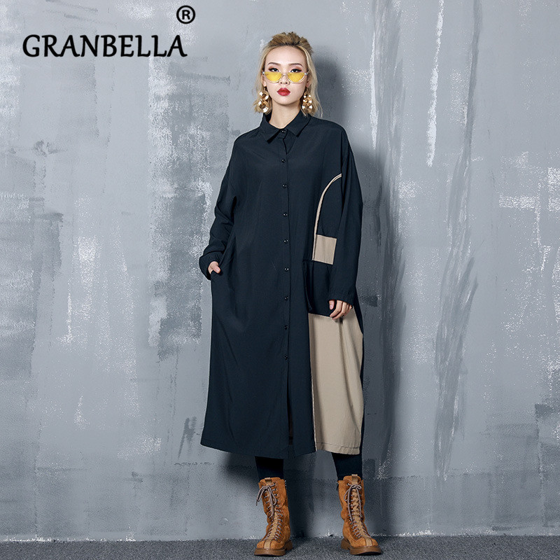 Colour-matching Pocket Loose Women   Trench   Coat Elegant Patchwork Vintage Female Long Outerwear Casual Chic