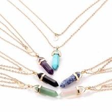 Unisex Natural Stone Pendant Necklace Vintage Ethnic Hexagonal Quartz Crystal Gold Chain colar Geometric Jewelry
